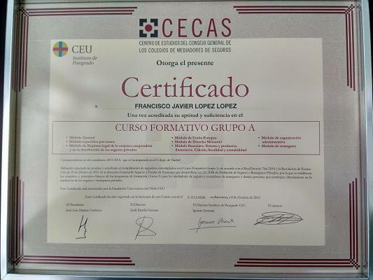 Certificado Mediador de seguros Javier López